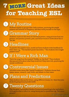 7 Great Ideas For Teaching ELL - can also be used as writing assignments for elementary students Efl Teaching, Teaching Strategies, Teaching Tips, Teaching English, Elementary Teaching, Teaching Spanish, Esl Writing Activities, Ell Strategies, Esl Learning
