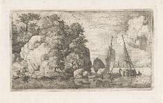 Allaert van Everdingen | Rivierlandschap met twee boten, Allaert van Everdingen, 1631 - 1675 | Gezicht op een hoge rots aan een rivier met twee boten. Op de rots een huisje en aan de voet van de rots vier personen en een roeiboot.
