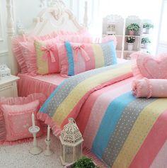 Princess cute rainbow polka dot bedding sets,girl twin full queen king classical bed clothes bed skirt pillow case quilt cover
