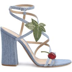 Gianvito Rossi Cherry Denim Strappy Sandal ($1,265) ❤ liked on Polyvore featuring shoes, sandals, blue, blue strappy sandals, block heel sandals, gianvito rossi shoes, strappy block heel sandals and block heel shoes