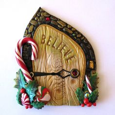 Believe Elf Door, Pixie Portal , Miniature Fairy Door for the Holidays, Polymer Clay Christmas Wall Decor by Claybykim on Etsy