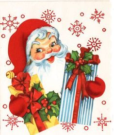 Die Cut Flocked Santa w Gifts Vintage Christmas Greeting Card Vintage Christmas Images, Retro Christmas, Vintage Holiday, Christmas Pictures, Christmas Art, Christmas Mantles, Christmas Villages, Victorian Christmas, White Christmas