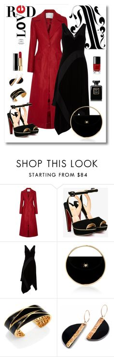 """""""Adam Lippes Coat & Donna Karan Dress Look"""" by romaboots-1 ❤ liked on Polyvore featuring ADAM, Christian Louboutin, Donna Karan, Charlotte Olympia and St. John"""