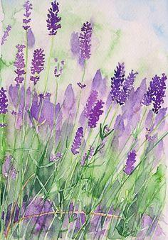 """Lavender watercolor. """"Parfum de la Provence"""" by Andrea Fettweis"""