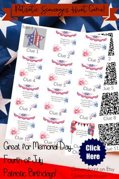 This is a Unique Patriotic Party, Fourth of July or Memorial Day Scavenger Hunt that is Fun for all Easy Party Games, Halloween Party Games, Birthday Party Games, Teen Birthday, Halloween Ideas, Birthday Ideas, Scavenger Hunt Birthday, Scavenger Hunt For Kids, Scavenger Hunts