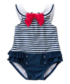 Adorable bathing suit Loving this Navy Stripe Nautical One-Piece - Infant on #zulily! #zulilyfinds