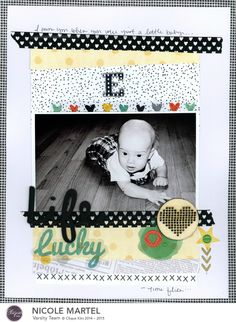 lucky - Scrapbook.com - Layer strips of patterned paper to create a fun background for  a baby layout with a less traditional look.