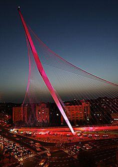 Jerusalem Light Rail Train Bridge; Jerusalem, Israel; designed by Santiago Calatrava.