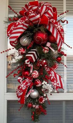 """PEPPERMINT HOLIDAY"" - Christmas Holiday Teardrop Swag Decoration by DecorClassicFlorals, $129.95"