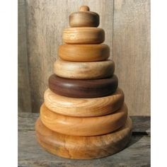 Natural Hardwood Stacking Toy handmade in Maine $34.95
