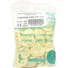 FINGERLING Latex Op Grösse 4:   Packungsinhalt: 100 St PZN: 02741120 Hersteller: Careliv Produkte OHG Preis: 1,74 EUR inkl. 19 % MwSt.…