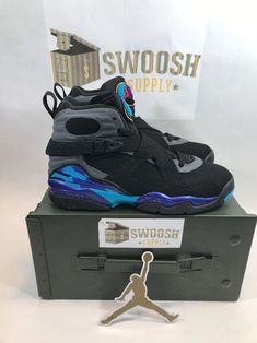 info for 7cdd8 38345 Nike Air Jordan 8 VIII GS Retro Black Aqua Grade School 305368-025 Size 5.5
