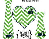 Set of 3 PRINTABLE Siblings Decals, Big Sis, Big Bro and Lil Bro Green and Navy Blue Chevron DIY Iron On Heart and Tie Decal Heat Transfers