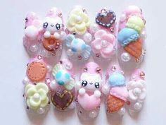 bunny and sweets nails Kawaii Nail Art, 3d Nail Art, 3d Nails, Nail Arts, Cute Nails, Pretty Nails, Vegas Nails, Hello Kitty Nails, Japanese Nail Art