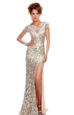 P8945 in Silver/Nude #prom2013 #preciousformals #promdresses