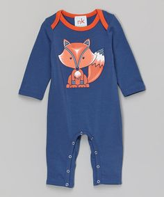 Another great find on #zulily! Navy Fox Playsuit - Infant by nktoo by Nohi Kids #zulilyfinds