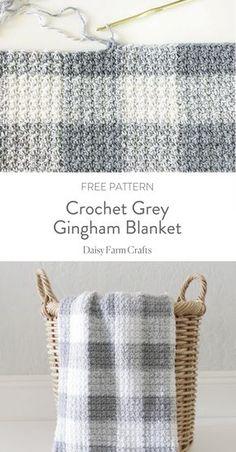 Crochet Grey Gingham Blanket - Daisy Farm Crafts