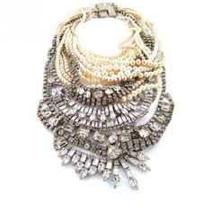 Tom Binns uses many kinds of materials from pearls to costume stones to make huge statement jewelry pieces worn by women like Michelle Obama Bold Jewelry, Statement Jewelry, Jewelry Accessories, Fashion Accessories, Fashion Jewelry, Chunky Jewelry, Vintage Jewellery, Tom Binns, Candy Necklaces