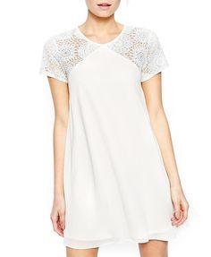 Lace Mesh Splice White Chiffon Dress