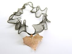Rose Gold Cottonwood Leaf on a Ruffled Black by MaryMorrisJewelry