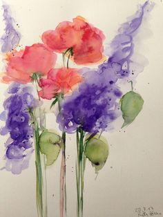 Aquarell Bild Wasserfarben Picture Blumen Flowers