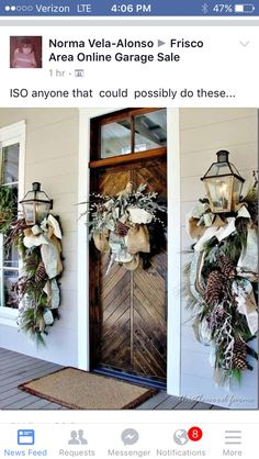Cool Christmas Door Decorations In Order to Make Your Christmas Fun and Attractive > Detectview Outdoor Christmas Decorations, Rustic Christmas, Winter Christmas, Christmas Home, Winter Decorations, Christmas Swags, Winter Porch, Christmas Front Doors, Christmas Outdoor Lights