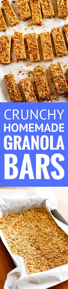 Homemade Granola Bars -- these crunchy homemade granola bars are a tasty and healthy snack... Customize the dried fruits and nuts to make them your own! Plus 4 more fab after school healthy snacks.   healthy granola bars   granola bars recipe   crunchy granola bars   easy granola bars   find the recipe on unsophisticook.com