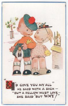 Artist Signed M L Attwell Boy in Kilt Arm-in-arm with Girl Vintage Postcard #1864