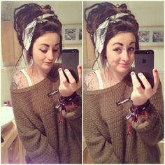 Puff. Bandana. Messy bun. Dreads. Loss hair. Brunette. Brown hair. Could be easily done without dreads. #pinspiration.