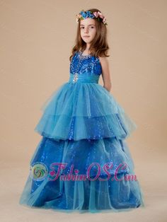 Paillette Over Skirt Layer A-Line Halter Blue Tulle 2013 Flower Girl Dress  http://www.fashionos.com  http://www.facebook.com/quinceaneradress.fashionos.us  The floor length puffy skirt made from layers of tulles and sequin fabric make the dress graceful. Zipper up back. Your baby will look like a princess when she wear this glittering dress.