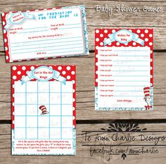 Printable Dr. Seuss Cat in the Hat Baby Shower Games - Wishes for Baby - Cat in the Hat Bingo - Advice & Predictions. $5.00, via Etsy.