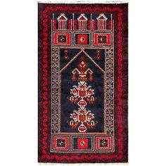With a distinctive style, a gorgeous area rug from Afghanistan will add some splendor to any decor. This Tribal Balouchi area rug is hand-knotted with a geometric pattern in shades of navy, red,  ivory, rust, and brown.