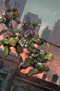 """Very excited to reveal my TMNT exclusive variant for Big Time Collectibles. Homage after TMNT - with a little more """"action"""" and of course a new member to the team;😁 Thank you BTC and IDW Publishing for the opportunity, so glad Teenage Mutant Ninja Turtles, Ninja Turtles Art, Ninga Turtles, Power Rangers, Cuadros Star Wars, Arte Ninja, Bd Comics, Thundercats, Gi Joe"""