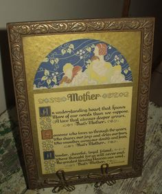 Vintage Mother Motto Framed Print Mothers day Poem by ShabbySmoes
