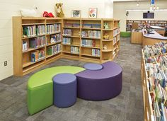 The bright colors bring an energy that the library had long been lacking at Black Hawk Elementary School, MO. | DEMCO Interiors