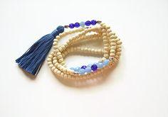 Blue tassel necklace summer Tassel jewellery by AellaJewelry