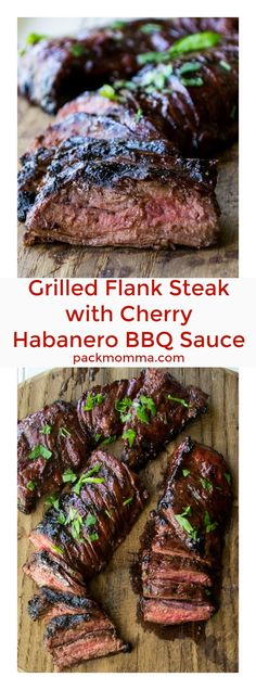 Grilled Flank Steak With Cherry Habanero Bbq Sauce Grilled Flank Steak With Cherry Habanero Bbq Sauceis A Tender Steak Grilled In A Sweet And Spicy Sauce. Ideal For Both Busy Weeknights And Lazy Weekends. Bbq Flank Steak, Flank Steak Recipes, Grilled Steak Recipes, How To Grill Steak, Grilled Meat, Meat Recipes, Cooking Recipes, Water Recipes, Recipies