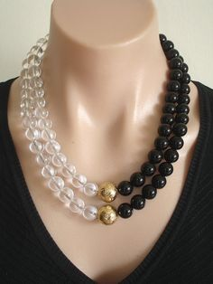 Ashira Statement Necklace Black CORAL, Rock Crystal and 24k Gold Vermeil Focal Beads