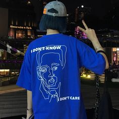 8a9853169f I DONT KNOW I DONT CARE OVERSIZED BLUE MAN FACE T-SHIRT Tumblr Aesthetic  Clothes