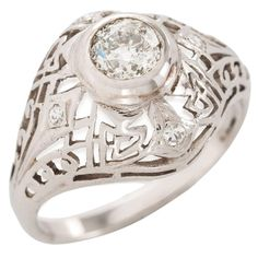 Art Deco Diamond Gold Dome Shape Filigree Ring 1