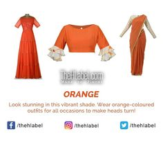 Now Get a #Stunning Look in Orange– Says TheHLabel  TheHLabel's wide range of #Ethnic and #Fusion wear collection in this colour is perfect for a #Bright and #Beautiful look. Opt for this hue and set new trends!  #TheHLabel #ColourOfTheDay Color Of The Day, Looking Stunning, New Trends, Hue, Ethnic, That Look, Vibrant, How To Make, How To Wear
