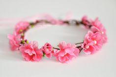 Pink flower crown  Flower girl hair wreath  by LuckyKidsHandmade
