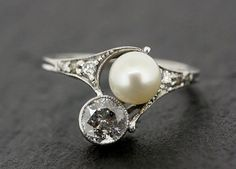 Art Deco Diamond Ring - Antique Pearl & Diamond Platinum Art Deco Engagement…