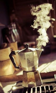 How I start every morning. I love the smell & the sound of my espresso brewing. One of my favourite moments of the day.