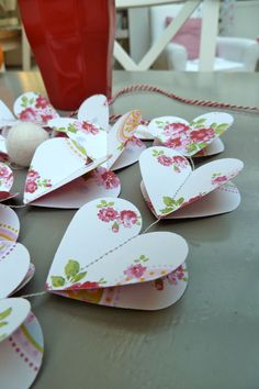 Paper Garland RED HEARTS Heart Garland Wedding by LaMiaCasa