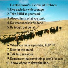 Cattleman's Code of Ethics