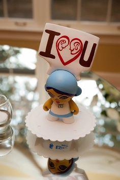 Acrylic on vinyl toy created for my childhood friend's wedding  #loveinpaint @Jessi Hardin #munny #kidrobot @Kidrobot