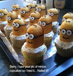 minions cupcakes -- make for a despicable me family movie night!