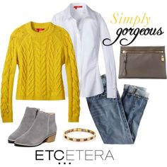 Etcetera | Holiday 2015: ABBEY yellow cable-knit sweater with SNOW white blouse and jeans. www.etcetera.com