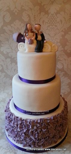 Three Tier Purple Ruffles Wedding Cake | Flickr - Photo Sharing!